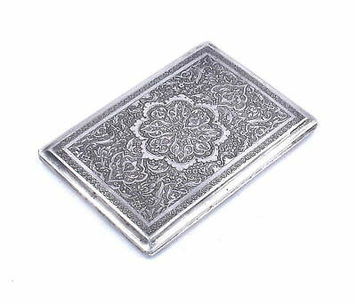 Antique Persian Ornate Cigarette Card Case Hand Chased 840 Middle East Silver
