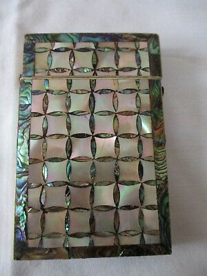 Antique Mother Of Pearl Velvet Lined Card Case, It Is In Need Of Some Attention
