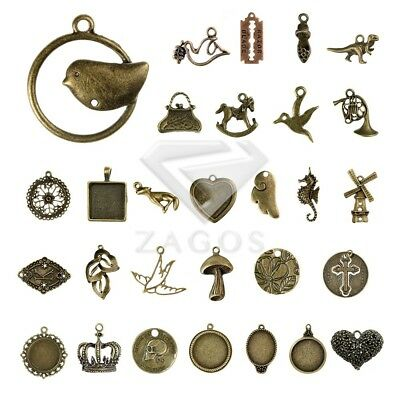 2-100pcs Antique Brass Spacer Metal Charm Pendant Jewelry Findings 35 style