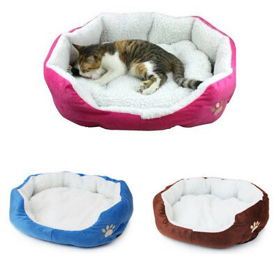 Small Round Soft Dog Bed Pet Puppy Cat Warm Basket Cushion with Fleece Lining