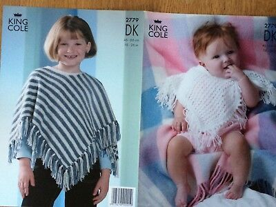 "King Cole Knitting Pattern: Baby/Child's Ponchos, DK, 18-26"", 2779"