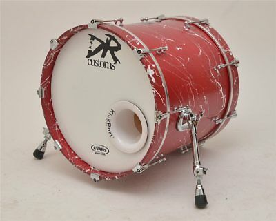 DR Customs Splatter Bassdrum 18 Red with White Splatter