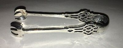 "Antique Lunt Chippendale Sterling Silver 4 1/2"" Sugar Tongs"