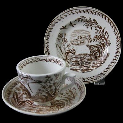 English Victorian Child's Brown Transferware Cup Saucer & Plate Set 1880s