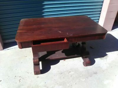 Antique mohagany wood Empire leg TABLE w/ drawers VTG library writing desk