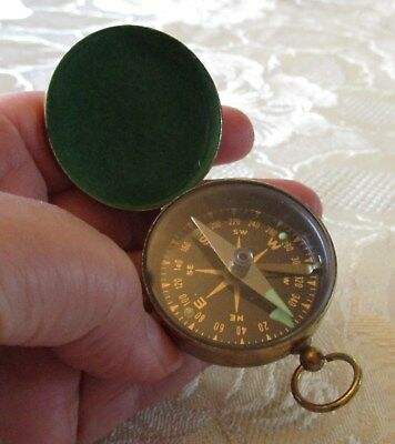 Antique / vintage brass close case pocket compass with green enamel