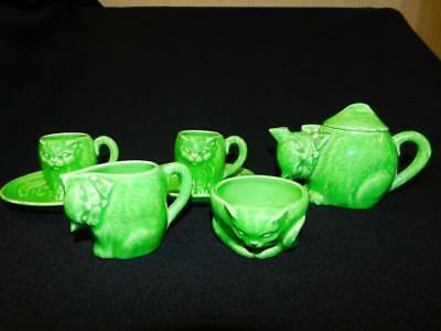 8 Pc Antique Vintage Childs CAT TEA SET Green Kitty Teapot Cups Creamer Sugar