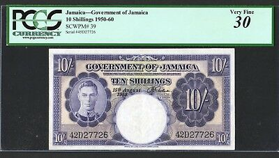 JAMAICA 10 Shillings 1950-60 Pick.39   VF   PCGS 30  (cleanded and pressed)