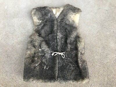 Vintage FUR With Windstopper Mountain Man Rustic Men's Vest Sherpa Jacket Size S