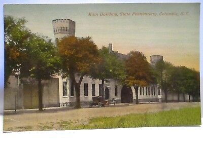 1910 Tint Postcard Main Bldg. State Penitentiary, Columbia Sc Early Car Unused