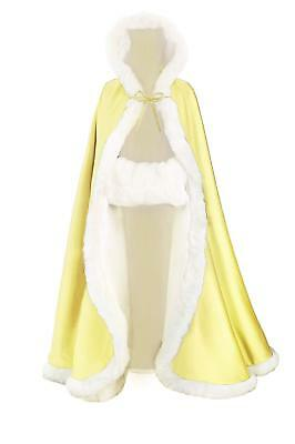 Wedding Cape Hooded Cloak for Bride Winter Reversible with Fur Trim