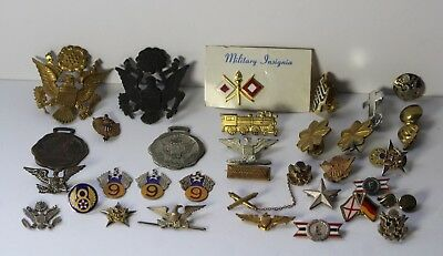 Vintage Lot of 33 American Military WWII Era & More Pins, Buttons & Badges