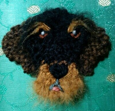 knitted dachshund wire haired brooch