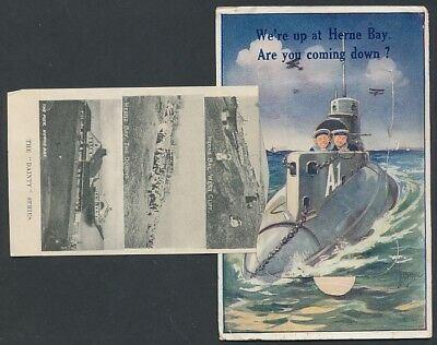 Herne Bay Pull out systeme carte novelty postcard Sub and planes