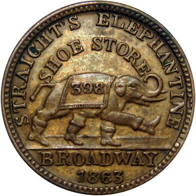 1863 Albany New York Civil War Token Straight's Shoe Store Elephant In Boots
