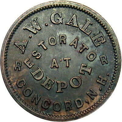 Concord New Hampshire Civil War Token A W Gale Single Variety State