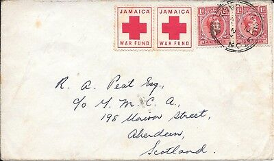 Jamaica Red Cross War Fund Labels On Cover To Scotland.