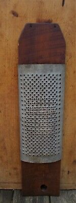 Antique Primitive Old Farm House Large Wood & Punched Metal Grater
