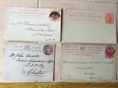 Great Britain Victorian post cards, two to Nova Scotia , 1 unused 1+ to Chester