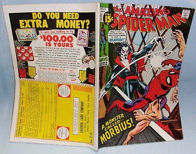 **october 1971 Marvel Spider-Man Comic #101-First Appearance Of Morbius-G.-Vg.**