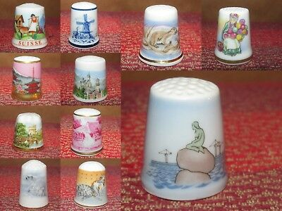 Lot of 11 Various Collectible China Porcelain Thimbles Scenes Places Animals