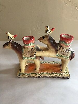 Vintage Made In Mexico Pottery Burros With Chickens On Head Candlestick Holder