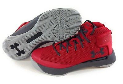 NEW Boys Girls Kids Youth Under Armour UA Curry 3Zero Red Grey Sneakers Shoes