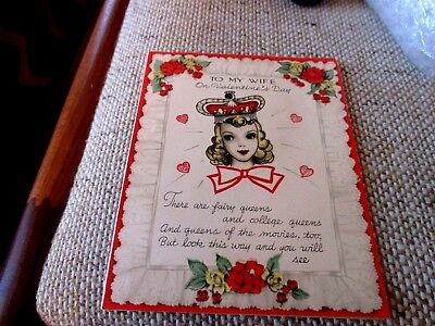Vintage, Valentine Greeting Card for WIFE, Used Signed. 1940's