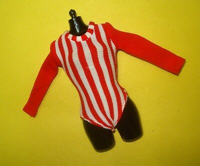 Vtg Barbie 80s Doll Clothes RED STRIPED EXERCISE BODY BLOUSE No Label