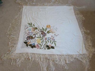 Antique / Vintage Chinese Hand Embroidered Silk Piano Shawl - Very Detailed