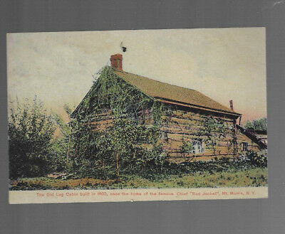 VINTAGE POSTCARD clr CABIN HOME of INDIAN CHIEF RED JACKET MT MORRIS NY 1910s