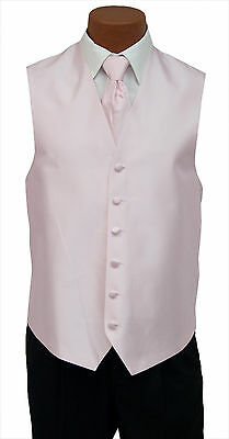 XLarge Mens Light Baby Pink Aries Fullback Wedding Prom Formal Tuxedo Vest & Tie