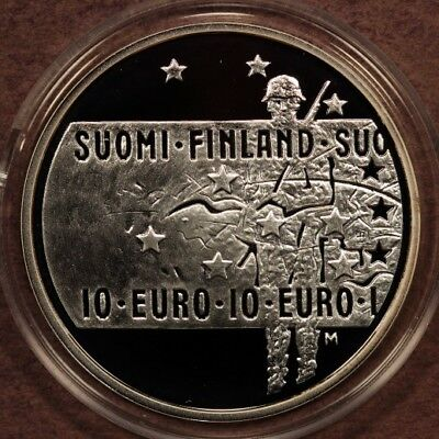 "Finland 10 Euro 2005 ""Unknown Soldier"" Silver Gem Proof"