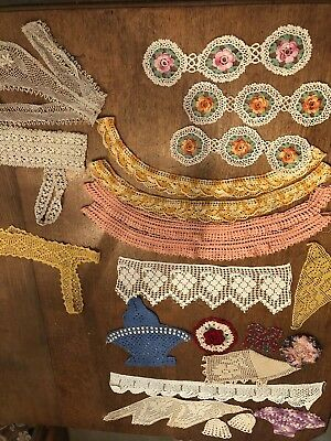LOT of 22 Hand Crochet Antique Lace Vintage Trims, Edging, And Inserts