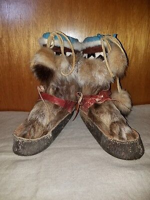Old original Mukluks hand stitched hair on hide northern first peoples apparel