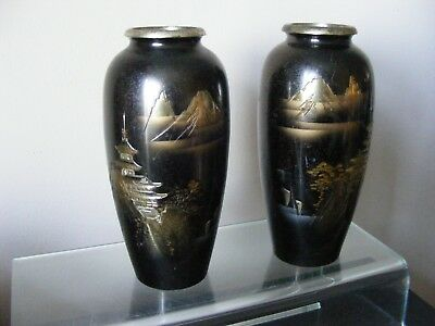 PAIR of ANTIQUE JAPANESE BRONZE VASES