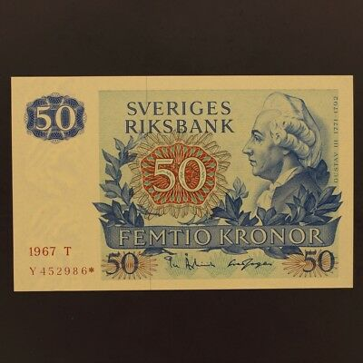 Sweden 50 Kronor 1967 P#53r1 REPLACEMENT/STAR NOTE - Banknote ChAU/Unc
