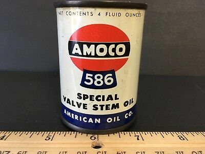 Amoco 586 Special Valve Stem Oil American Oil Co. 4 oz. empty can
