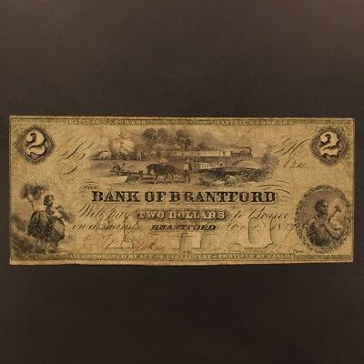 Canada - Bank of Brantford 2 Dollars 1.11.1859 P#1570a Banknote Fine