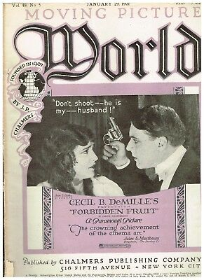 Rare Vintage Moving Picture World January 29, 1921 Forbidden Fruit cover