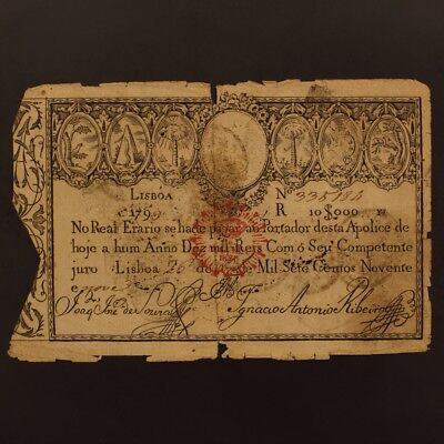 Portugal 10,000 Reis 1828(Old Date 1799) P#41a Banknote F+