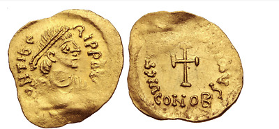 RARE ANCIENT BYZANTINE GOLD COIN : Maurice Tiberius. 582-602. AV Tremissis