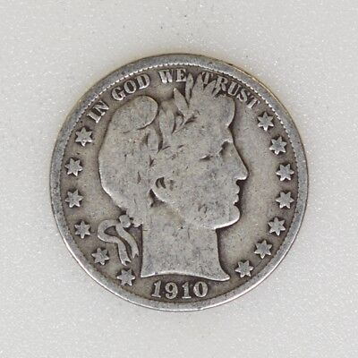 1910-P GOOD Cond Barber Silver Half Dollar Tough Date Nice Color - I-16261 G