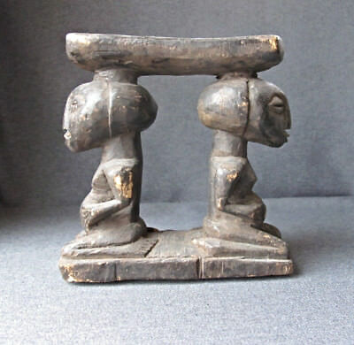African Luba DRC carved wood headrest