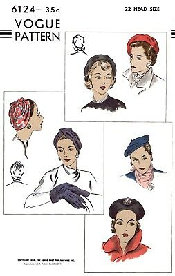 """Vogue # 6124 Hat Turban Beret Fabric sewing pattern Vintage Millinery 22"""" or 23"""""""