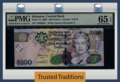 "Tt Pk 76 2009 Bahamas Central Bank 100 Dollars ""queen Elizabeth Ii"" Pmg 65 Epq!"