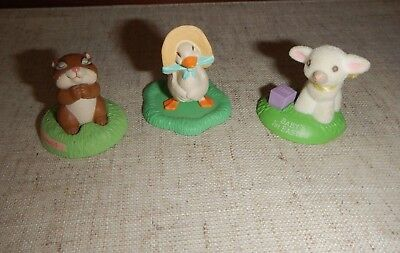 3 Hallmark Merry Miniatures Easter 1990 Baby's 1st 1991 Duck  Blessings Chipmunk