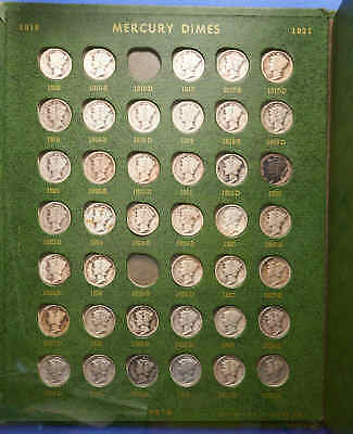 1916-1945 Silver Mercury Dime Set.81 Total Coins.Only Missing a couple.