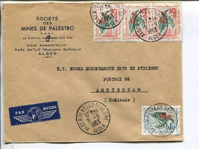 Algeria air mail cover to Netherlands 1963