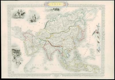 """1850 Antique Map """"ASIA"""" by Tallis CHINA RUSSIA INDIA ARABIA JAPAN BORNEO (24d)"""